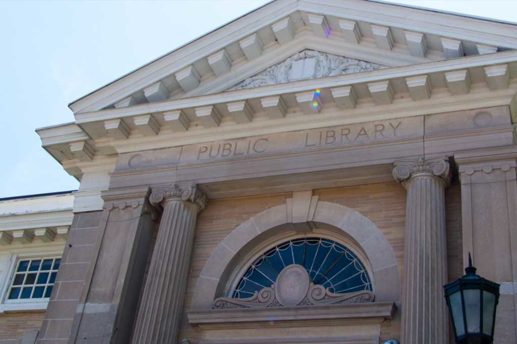 Norwalk Public Library Connecticut. Greek / Roman style columns. Marble building