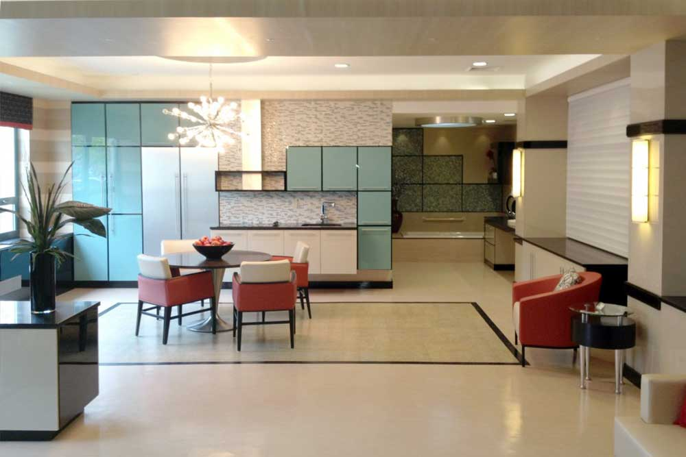 Modern interior and kitchen area at Workmen's Circle.